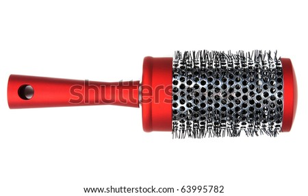 One red massages comb on white background