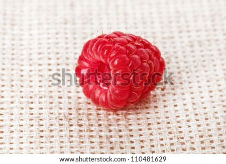 One red ripe raspberry fruit, on gray linen table cloth, macro