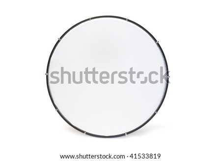 One red tambourine isolated on white background
