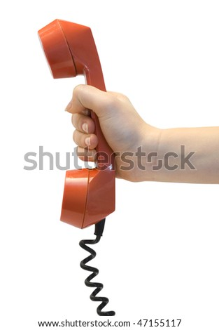 One red tube from phone in hand on white background
