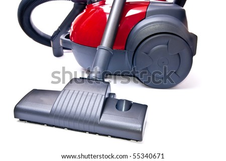 One red vacuum cleaner isolated on white background