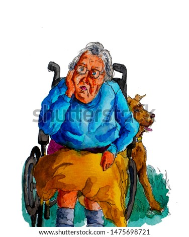One retired seniors elderly woman with dementia mental illness disorder disability sitting on wheelchair with loneliness and boredom with a companion dog pet.