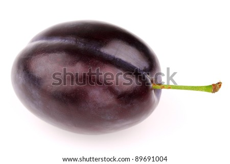 One ripe plum on a white background