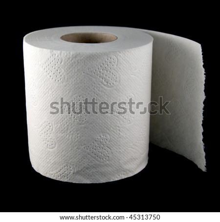 one roll of soft toilet paper isolated on black