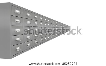 one row of file drawer (3d render)