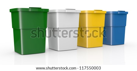 one row of four recycling bins in different colours (3d render)