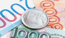 one russian ruble on russian rubles banknotes, macro