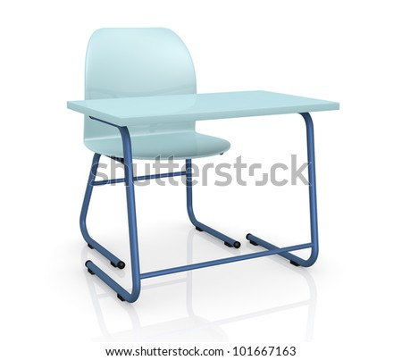 one school desk with a chair on white background (3d render)