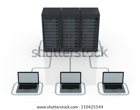one server rack connected to electronic devices (3d render)