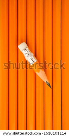one sharp small Pencil  lie above many yellow pencils. yellow pencils background. hard working idea