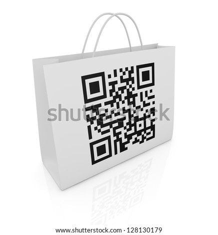 one shopping bag with a qr code printed on a side (3d render)
