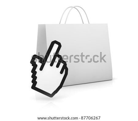 one shopping bag with the hand cursor (3d render)