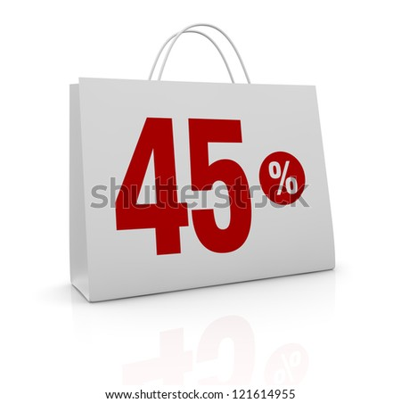 one shopping bag with the number forty five and the percent symbol (3d render)