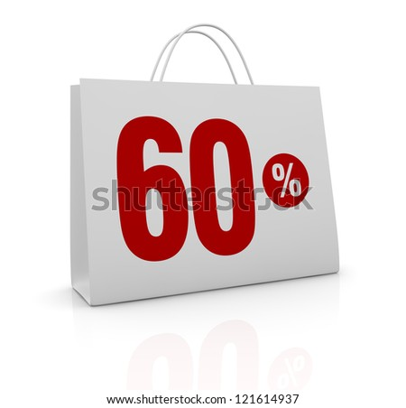 one shopping bag with the number sixty and the percent symbol (3d render)