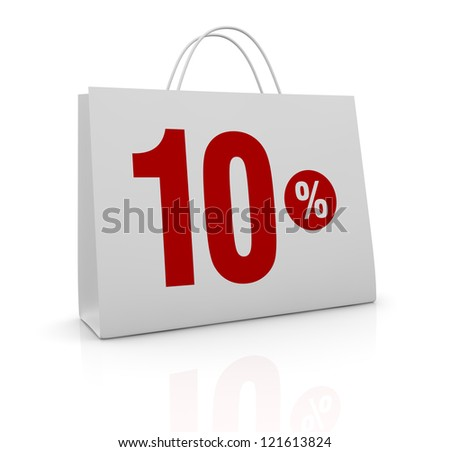 one shopping bag with the number ten and the percent symbol (3d render)