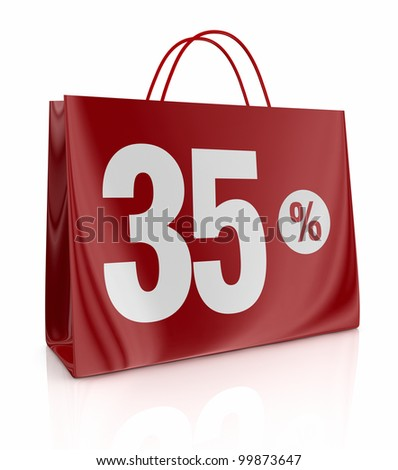 one shopping bag with the number thirty five and the percent symbol (3d render)