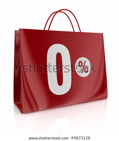 one shopping bag with the number zero and the percent symbol (3d render) - stock photo