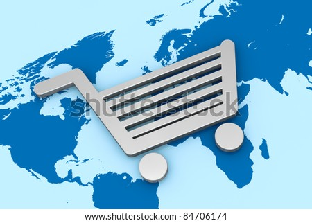 one shopping cart and a world map, concept of global  shopping online (3d render) - stock photo