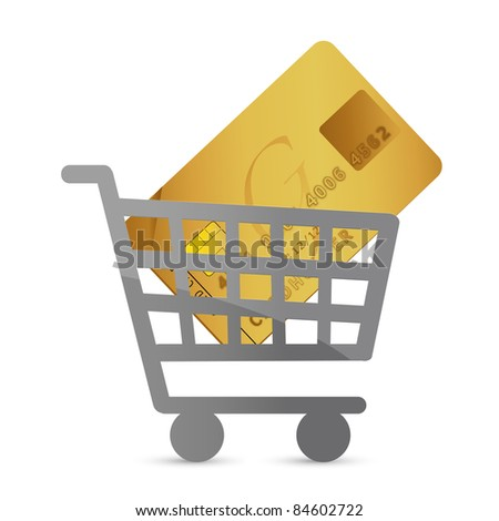 one shopping cart with a credit card