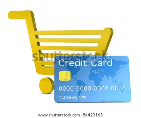 one shopping cart with a credit card, concept of shopping with electronic payment or online shopping (3d render)