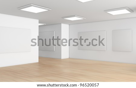 one showroom with a wooden floor and blank panels on the walls (3d render)