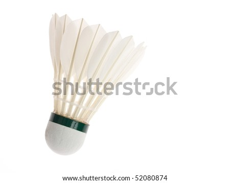 One shuttlecock isolated on the white background