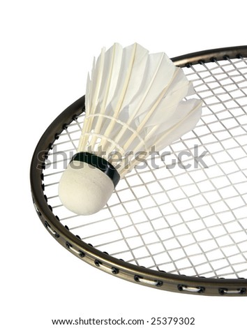 one shuttlecocks on a racket for a badminton on a white background