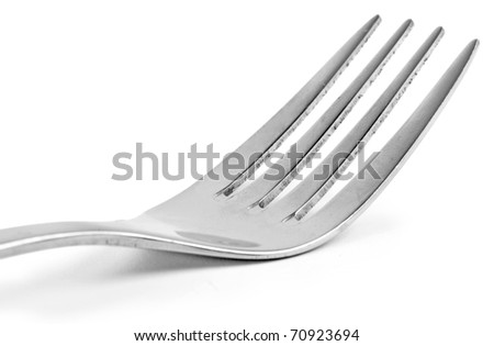 One silver fork isolated on white background