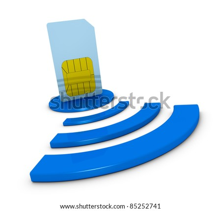 one sim card with the wireless symbol (3d render)