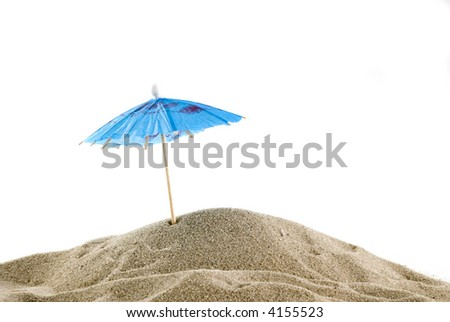 one single blue parasol on the empty beach