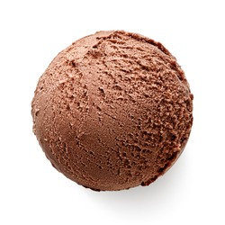 One single chocolate ice cream ball or scoop isolated on white background. Top view