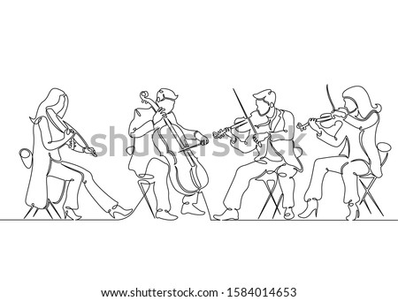 One single continuous isolated doodle silhouette contour hand drawn art flat line musical quartet violin musicians. Classic music, musician, art, instrument, concert, classical, orchestra, cello