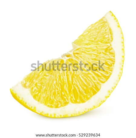 One slice of lemon citrus fruit isolated on white background. Lemon slice with shadow