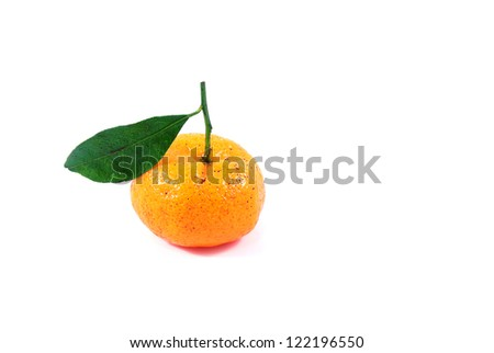 One small chinese orange with leaf on white background