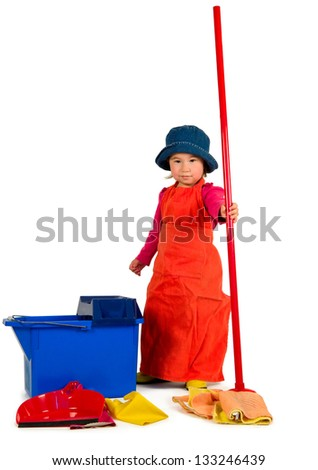One small little girl wearing orange apron, red t-shirt, blue hat and yellow high boots, cleaning with red mop, red scoop and blue bucket. Isolated objects. - stock photo