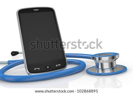 one smartphone and a stethoscope; concept of computer repair or medical technologies (3d render)