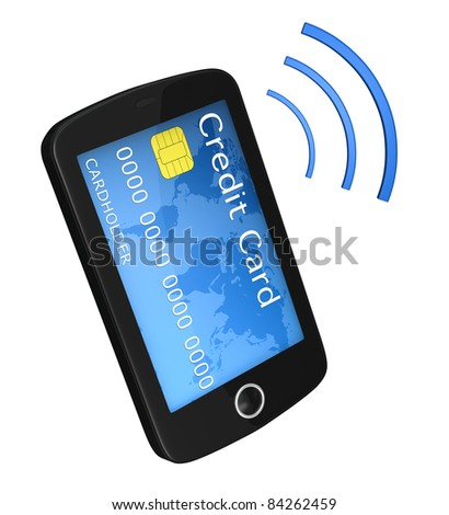 one smartphone with a credit card instead of  the display. concept of online shopping (3d render) - stock photo