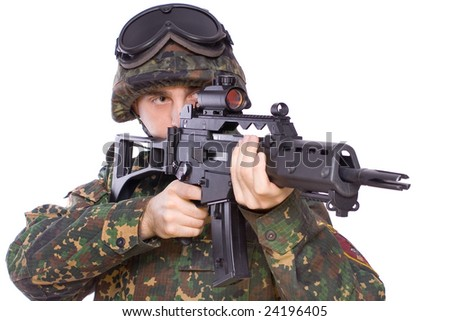 one soldier with the gun in the hands on a white background