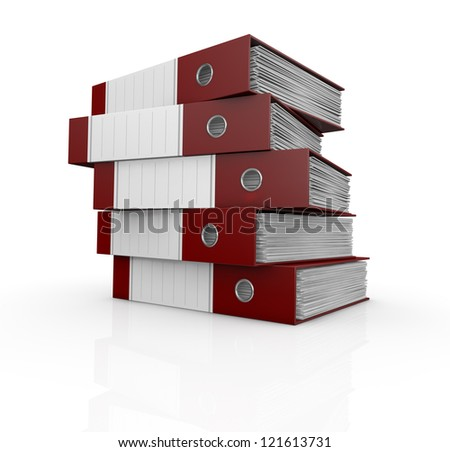 one stack of office folders full of documents (3d render)