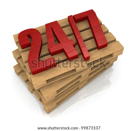 one stack of pallets with the 24/7 on top of them, concept of shipping service (3d render)