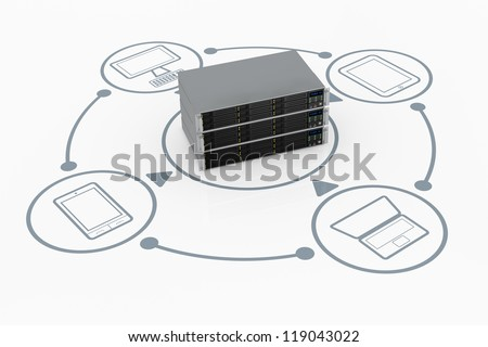 one stack of server rack connected to several electronic devices (3d render)