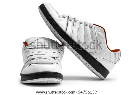One steam of white trainers on white background