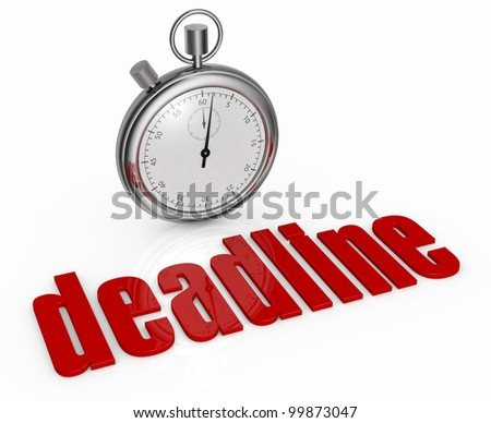 one stopwatch with the word: deadline, in front of it (3d render) - stock photo