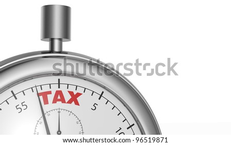one stopwatch with the word tax printed on the dial (3d render)