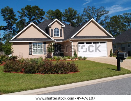 One story residential home with board or vinyl siding and front entry garage.