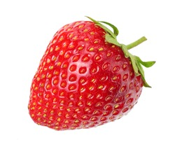 one strawberry isolated on a white background