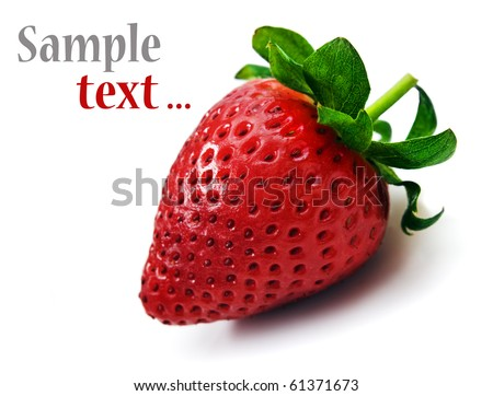One strawberry on a white background with space for text