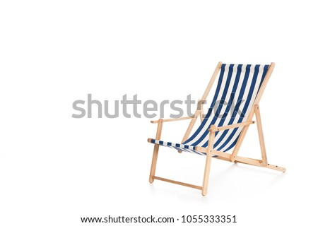 one striped beach chair, isolated on white #1055333351