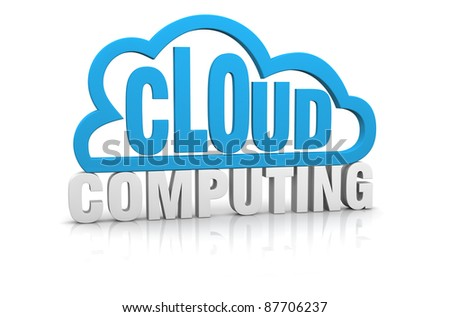 one stylized cloud with the words: cloud computing (3d render)