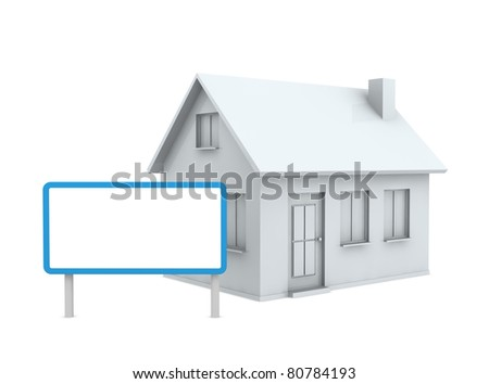 one stylized house with an empty signboard (3d render)